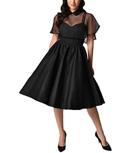 Minetom Mujer Collar de Muñeca Vestido de Fiesta Retro Vintage Manga Corta hasta la Rodilla Capa Vestido de Noche Cóctel Rockabilly Ceremonia