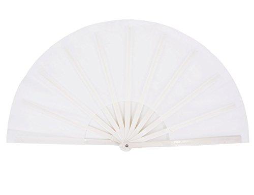 Amajiji Large Folding Fan, Chinease/Japanese Folding Silk Hand Fan, Women Hand Folding Fans Hand Fan Gift Fan Craft Fan Folding Fan Dance Fan (White)