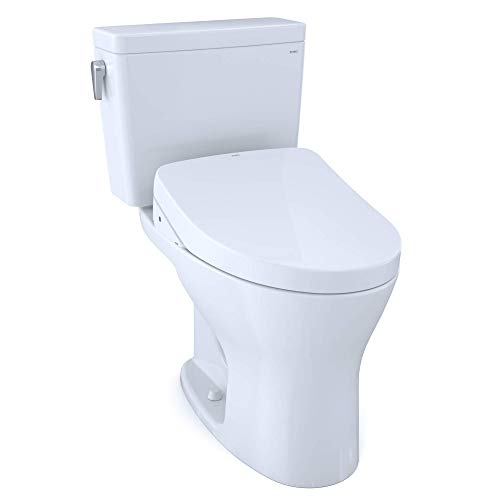TOTO MW7463046CEMFG#01 Drake WASHLET+ Two-Piece Elongated Dual Flush 1.28 and 0.8 GPF Universal Height DYNAMAX TORNADO FLUSH Toilet with S500e Bidet Seat, Cotton White