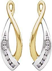 PicturesOnGold Solid 14K White Gold 1/5 CTW Diamond Earring Jackets