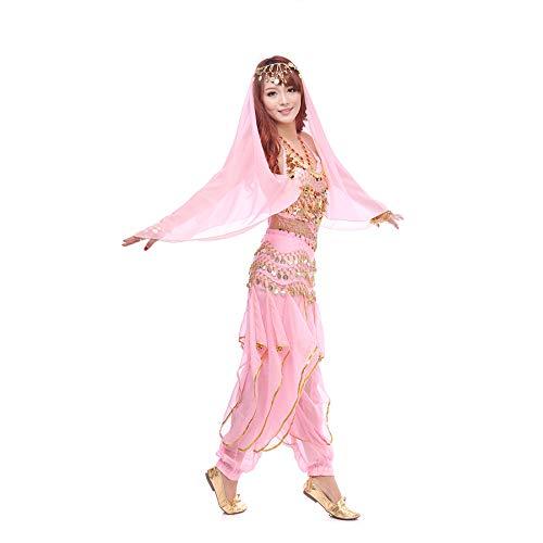 Wuchieal Bauchtanz Kostüm 4 Teile Oberteil Hose Hüftschal Schleier für Damen (Pink, One Size)