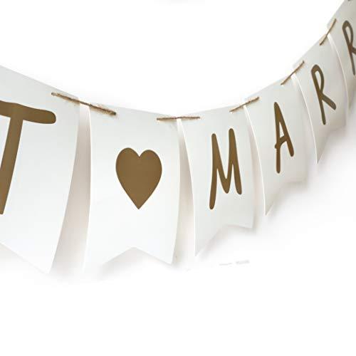 WeddingTree Girlande Hochzeit - Schnur Aufreihhilfe - Schrift goldfarben - beidseitig Bedruckt mit Just Married und Love is in The air