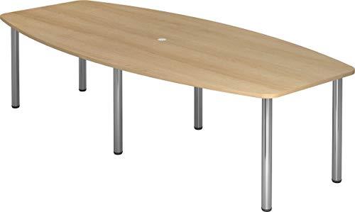 bümö® Konferenztisch rund oval 280 x 130 cm in Eiche | Besprechungstisch mit Chromfüßen | hochwertiger Meetingtisch