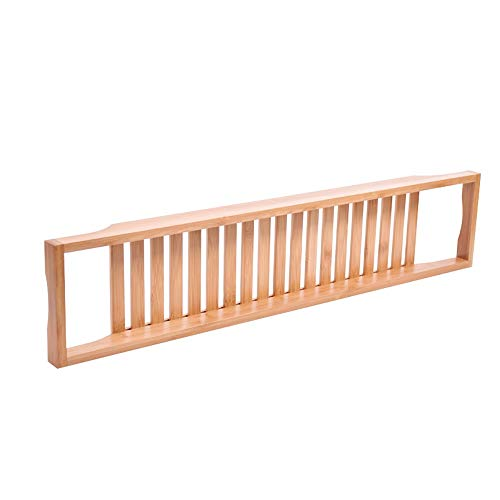 Y-s-h Folding Bamboo Bathtub Caddie Tray, Luxury Spa Container   Foldable   Natural, Eco-Friendly Wood   Integrated Tablet, Smart Phone, Wine, Bookshelf/Suitable for Any Size Bathtub (Color : A)