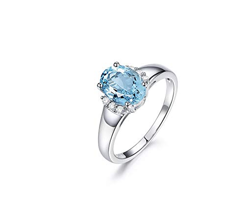 Beydodo Verlobungsring 18 Karat 1.35ct Oval Aquamarin Damen Weißgold Ring Trauringe mit Diamant Gr. 49 (15.6)