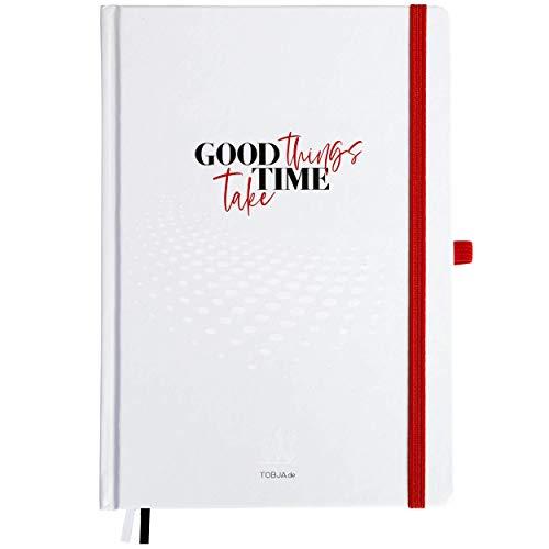 Cuaderno Bullet Journal A5 con puntos, 200 páginas de papel grueso de 120 g/m², tapa dura, con puntos, agenda planificadora, cuaderno FSC DIN A5 con marcapáginas, diario de balas Diario de TOBJA