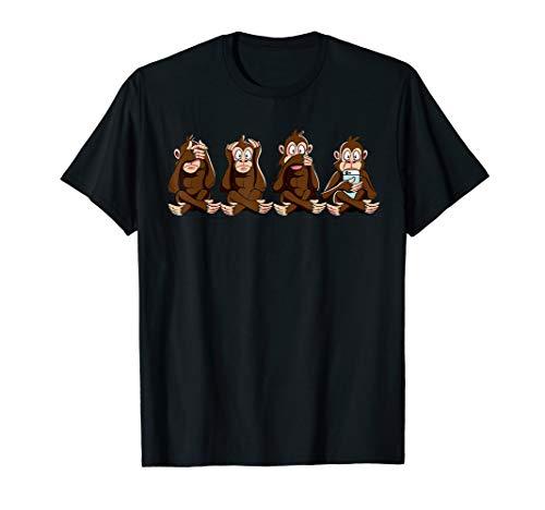 3+1 Affen Shirt nichts sehen, hören sagen + Smartphone