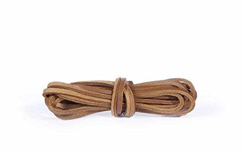 Kaps Schnürsenkel aus Leder, 100% Echtleder, hochwertige Schnürsenkel für Schuhe & Stiefel, hergestellt in Europa (120cm - 6 bis 8 Schnürösenpaare / 36 - natürliche farbe)