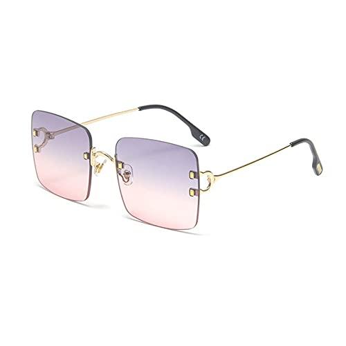 NIUBKLAS Gafas de sol cuadradas sin montura para mujer, gafas de remache de metal Vintage para hombre, gafas de una pieza con parte superior plana para hombre C3