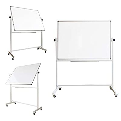 Mobile Whiteboard, 48 x 32 Inches, Rolling Magnetic Double Sided White Dry Erase Board on Wheels, Portable Writing Standing White Boards Easel with 4 Markers 1 Eraser 10 Magnets 1 Ruler