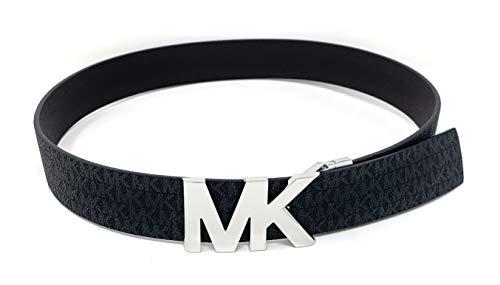 Michael Kors Signature Monogram Reversible Black/Brown Belt Silver MK Logo