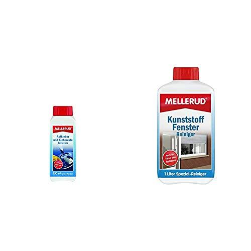 MELLERUD Aufkleber und Klebereste Entferner 250 ml 2001001766 & Kunststoff Fenster Reiniger 1,0 L, 2001001544