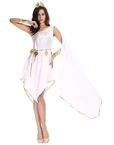 HDE Halloween-Kostüm Göttin, griechisch-römischer Stil, weißes Kleid mit goldfarbenen Verzierungen