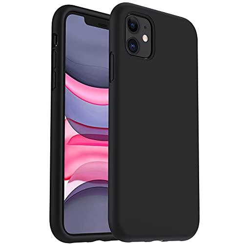 ORNARTO Silikon Hülle für iPhone 11, Verstärkte Stoßfeste Flüssige Silikon Gel Gummi Ganzkörper Schutz Stoßstange Abdeckungs Handyhülle für iPhone 11 (2019) 6,1 Zoll-Mitternachts Schwarz