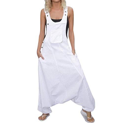 ORANDESIGNE Mujer Petos Casual Pantalones Holgados Pierna Ancha Mono Vaqueros Pants A Blanco 46