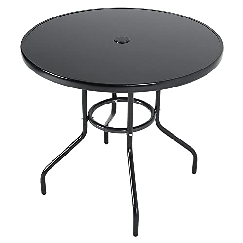 DKIEI Round Black Table Coffee Table Leisure Table Dining Table Tempered Glass Top with Parasol Hole for Garden Patio Balcony Backyard, 80x80x71cm