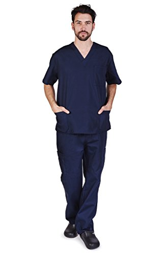 NATURAL UNIFORMS Men's Scrub Set Medical Scrub Top and Pants S Dark Navy Blue