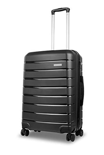 Roma Durable Hard Shell Luggage (Black) 24 Inch Medium Spinner Suitcase, 61 cm, 4 Wheels, M Suitcase with a 5 Year Warranty