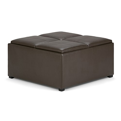 Simpli Home Avalon 35 inch Wide Square Coffee Table Lift Top Storage Ottoman, Cocktail Footrest Stool in Upholstered Chocolate Brown Faux Leather for the Living Room, Contemporary