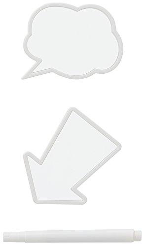 like-it メッセージ 書けるクリップ 2P マーカーペン付き ホワイト バブルトーク:幅8x奥2x高6.3cm/アロー:幅7.8x奥2x高7.8cm MCL-0011