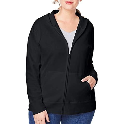 Just My Size Women's Plus-Size EcoSmart Full-Zip Hoodie, Ebony, 4XL
