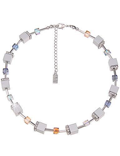Leslii Damenkette Glitzer Würfel-Kette Collier Kurze Halskette Silberne Modeschmuck-Kette Strass-Kette 45cm Silber Bunt