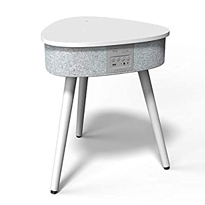 Portable Smart Side Table Bluetooth Speaker with Wireless & USB Charging Dock -2020 Modern Home Studio Smart Table Multifunctional White