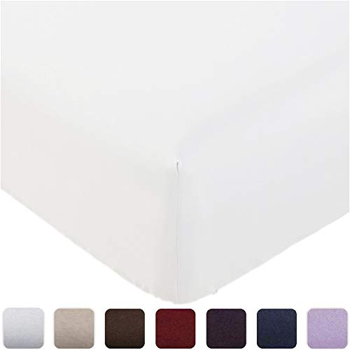 Mellanni Fitted Sheet Queen White - Brushed Microfiber 1800 Bedding - Wrinkle, Fade, Stain Resistant - Deep Pocket - 1 Single Fitted Sheet Only (Queen, White)