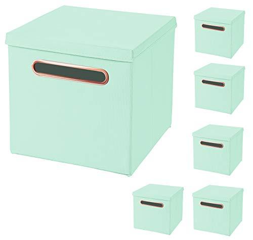 CM3 6 Stück Mint Faltbox 32,5 x 32,5 x 32,5 cm mit Rosegold Griff Aufbewahrungsbox faltbar, mit Deckel
