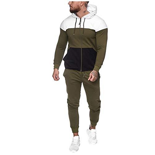 SUCES Herren Jogging Anzug Männer Sweatshirt Hose Sets Herbst Winter Hoodie Sport Casual Strickjacke Modisch Klassisch Trainingsanzug (XXL, Grün)