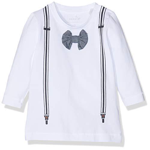 Name It Nbmherunne Ls Top T-Shirt À Manches Longues, Blanc Bright White, 62 Bébé garçon