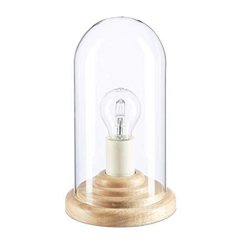 Relaxdays Tischlampe Glas, Dekoleuchte Glühbirne, Nachttischlampe rund, Dekolampe Holz, HBT: 26 x 14,5 x 14,5 cm, natur