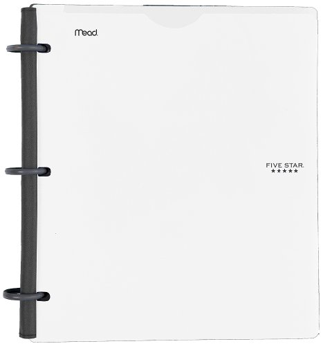 Five Star Flex Hybrid NoteBinder, 1 Inch Binder with Tabs, Notebook and 3 Ring Binder All-in-One, White (72520)