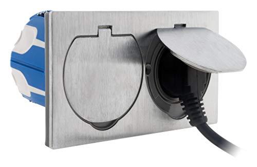 Simplea - Toma de suelo doble 16 A, 2P + T, acabado en aluminio cepillado, IP55 con caja de instalación