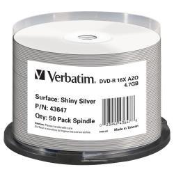 Verbatim DVD-R Rohlinge (16x Speed, 4,7 GB, 50-er Spindel) Silk Screen