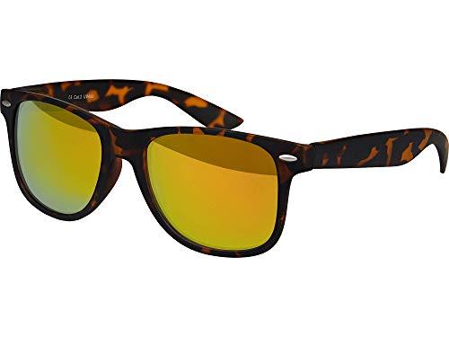Balinco Sonnenbrille UV400 CAT 3 CE Rubber - mit Federscharnier für Damen & Herren (leo - rot verspiegelt)