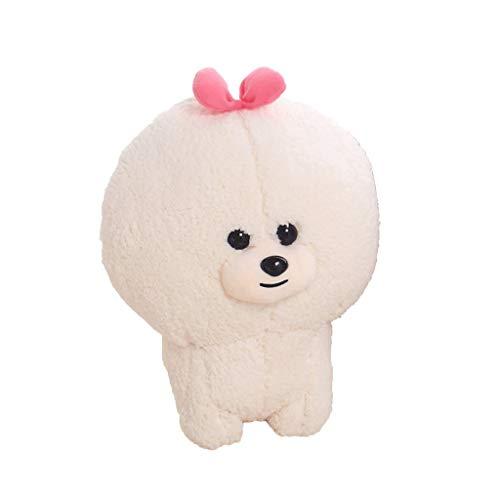 DXMRWJ Weißer Spielzeughund Plüsch Stehende Augen Großes Mädchen Jungen Paar Geburtstagsgeschenk 30-40Cm (Color : Pink, Size : 40CM)