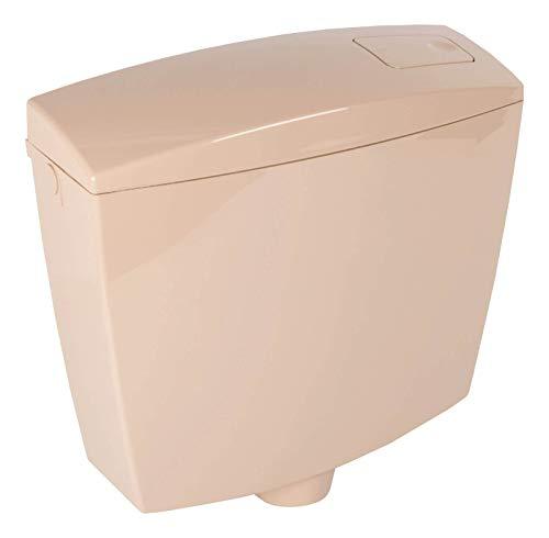 Calmwaters® Spülkasten Beige mit Spül-Stopp-Funktion, 6-9 Liter Spülmenge, Aufputzspülkasten WC schmal, flacher Spülkasten Essential, Aufputz, Start-Stopp-Taste, Beige-Bahmabeige, 29HB2719