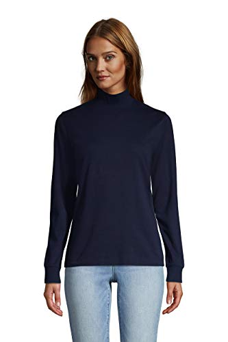 Lands' End Women Long Sleeve Relaxed Cotton Mock Radiant Navy Regular Large