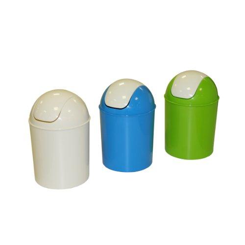 Axentia Mülleimer mit Schwingdeckel, Abfallbehälter für die Küche, Bad oder Kinderzimmer, geruchsdicht, 7 Liter Kosmetikeimer, Ø ca. 20 cm, Höhe: ca. 31 cm, blau, grün oder weiss (farblich sortiert)