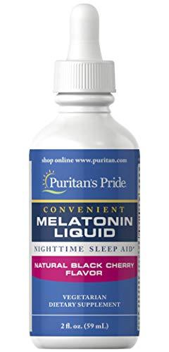 Puritan's Pride Sublingual Melatonin Natural Black Cherry Flavor 1 mg-2 oz Liquid