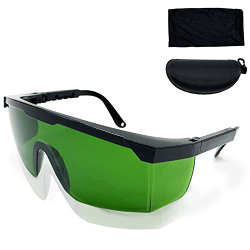 IPL 200nm-2000nm Laser Safety Glasses for Laser Hair Removal Treatment and Laser Cosmetology Operator Eye Protection with Case (Green)