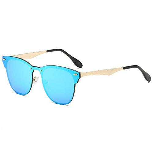 LKEYE Classic Unisex Sunglasses Futuristic Integral Rimless Lens LK1738 Blue