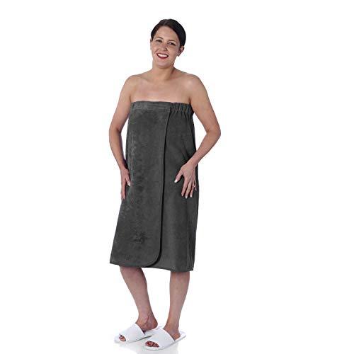 aztex dames badstof sarong gemaakt van katoen met elastische rug en sluiting, één maat, leisteen