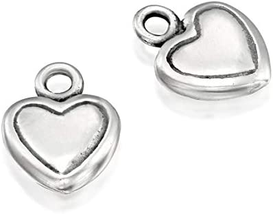 925 Sterling Silver 2 Pcs Heart Pendant 11x8 mm with Loop Love Charms for DIY Necklaces Bracelets product image