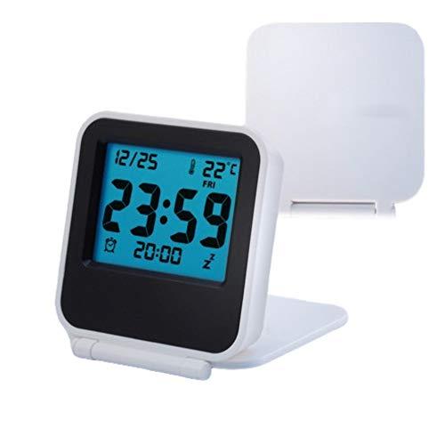 Yosoo Zusammenklappbar Wecker Tragbar Ultra Slim Design Reise Tabletop Digital Wecker mit Temperaturanzeige Kalender Datum Woche Weiß