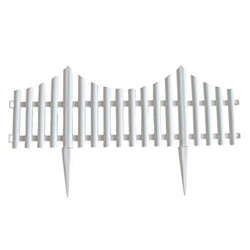 Yardwe Set of 5 Plastic Wooden Effect Garden Border Lawn Edge Edging Plant Picket Fencing for Flowerbeds (White)
