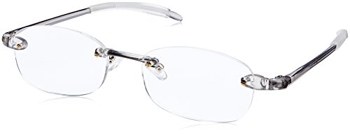 藤田光学 老眼鏡 メンズ 1.0 度数 ふちなし 読書グラス 弾性樹脂フレーム グレー TP-11SM+1.00