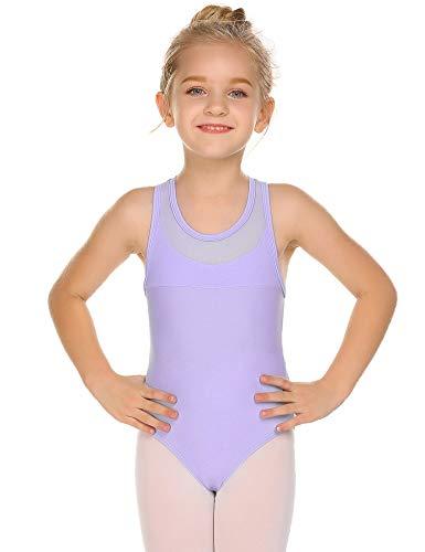 Zaclotre Gymnastikanzug für Mädchen, gekreuzter Rücken, Ballett-Tanz -  Violett -  160 cm(Alter 9-10 Jahre)