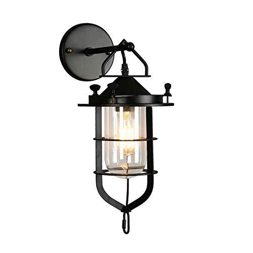 WMMCM Outdoor muurlamp, laserne, zwart, metaal, glas, klassieke stijl, voor voordeur, downward, industriële wind-wandlamp